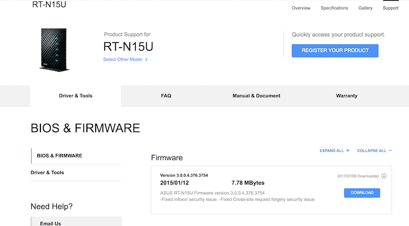 Asus RT-N15U Firmware Download