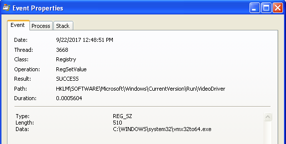 Lab03-01.exe Process Monitor Registry Entry