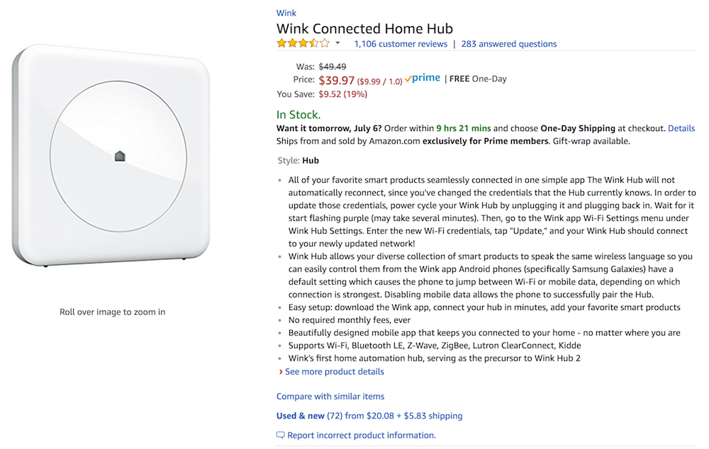 Wink Hub on Amazon